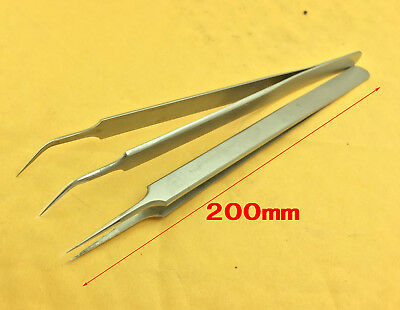 2pc Non-magnetic Tweezers Plier Stainless Steel Non-slip for Jewelry ICs Eyelash