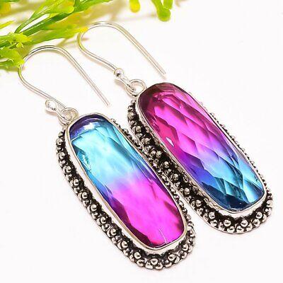 """Bi-color Tourmaline Gemstone Fashion Jewelry Earring 2.1"""" Se5279 Earrings"""