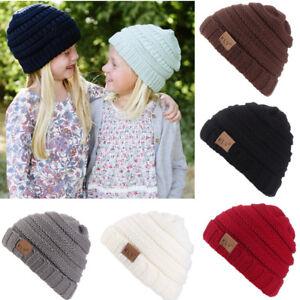 ef794af87d7 Toddler Kids Baby Winter Warm Crochet Knit Hat Girl Boy Children Ski ...