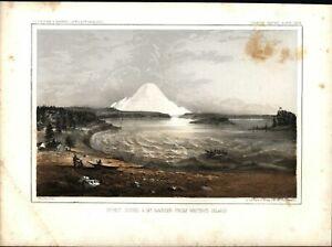 Puget-Sound-amp-Mount-Rainier-Beauty-1860-Western-U-S-color-lithograph-print