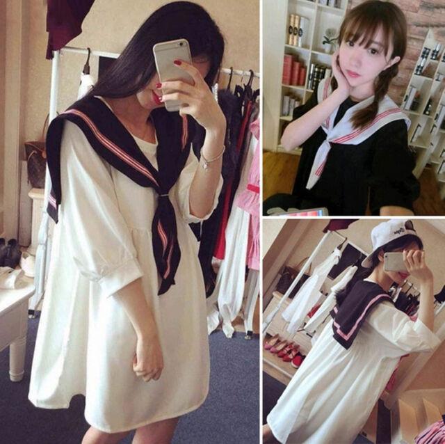 Japan Harajuku Summer Sweet Half Sleeve Dress with Sailor Collar Bottoming Skirt