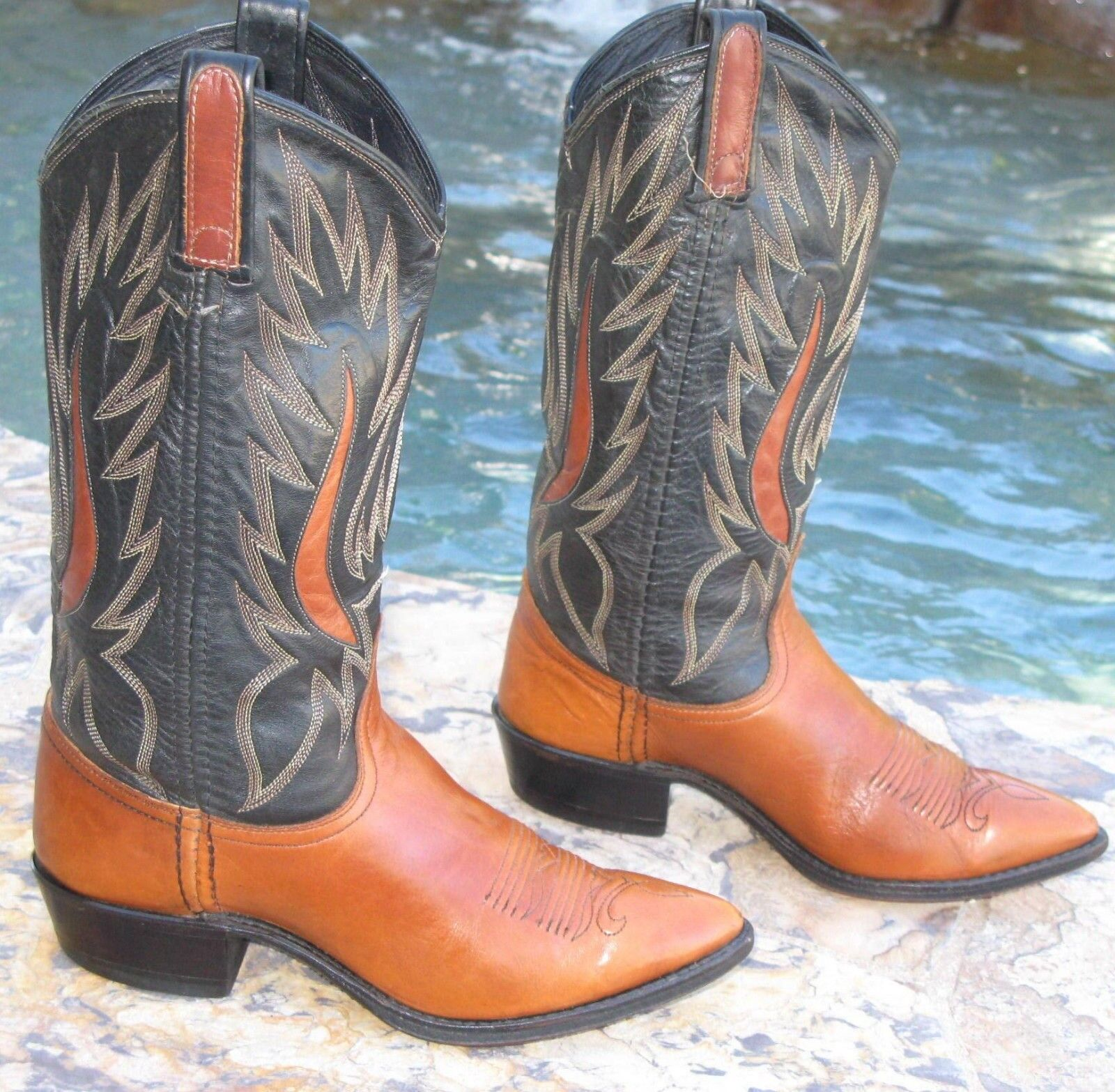 e96ecb9b1404ff Dan Dan Dan Post Bottes Cowboy Western Femme Taille 6/6.5 M Brun Noir    Vendre Prix 319ec0