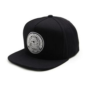 Unisexe-Hommes-Premier-Illuminati-oeil-Casquette-de-Baseball-Snapback-HipHop-Chapeaux-Noir-Blanc