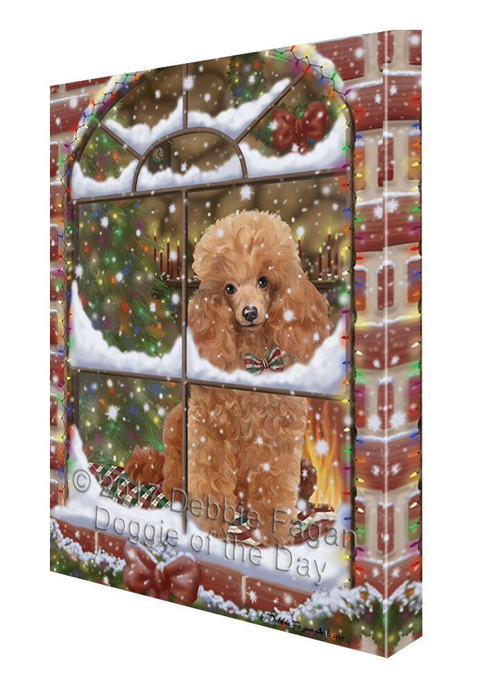 Please Come Home For Christmas Poodles Dog Sitting In Window Canvas Wall Art