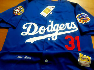 official photos f1dc4 ede92 Details about NEW Blue Los Angeles Dodgers #31 Mike Piazza special edition  2patches Jersey Men