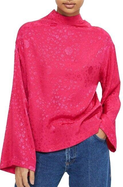 TOPSHOP Jacquard Kimono Sleeve Blouse Pink Floral US 8 NEW