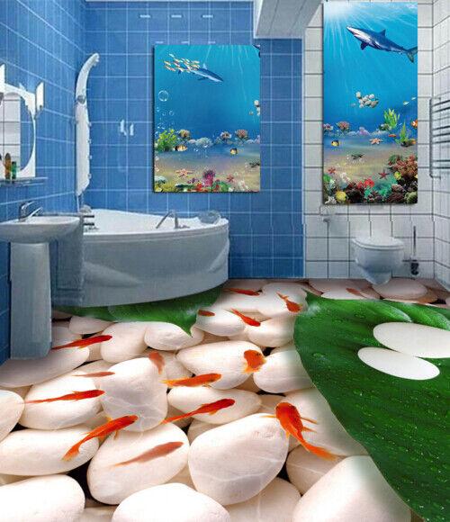 3D Goldfisch Bltter Fototapeten Wandbild Fototapete Tapete Familie DE Lemon