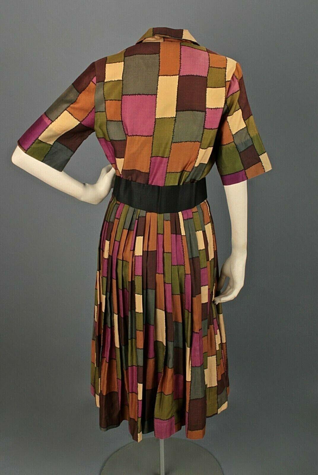 VTG Women's 50s 60s Patchwork Print Shirtwaist Dr… - image 3