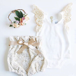 AU-Newborn-Toddler-Baby-Girl-Clothes-Tops-Romper-Lace-Shorts-Pants-Outfits-Set