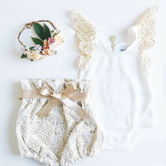 Newborn Toddler Baby Girl Clothes Tops Romper +Lace Shorts Pants Outfits Set