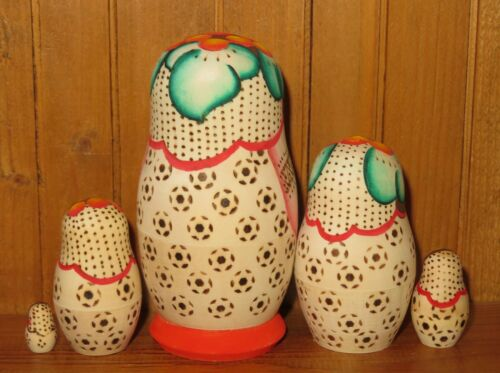 Nidification poupée russe matryoshka petit 5 Karavay peint à la main Pyrogravure signé