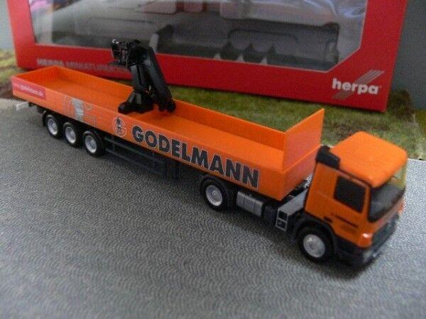 1 87 Herpa MB Actros M Pritschen-Sattelzug mit Kran Godelmann 302579