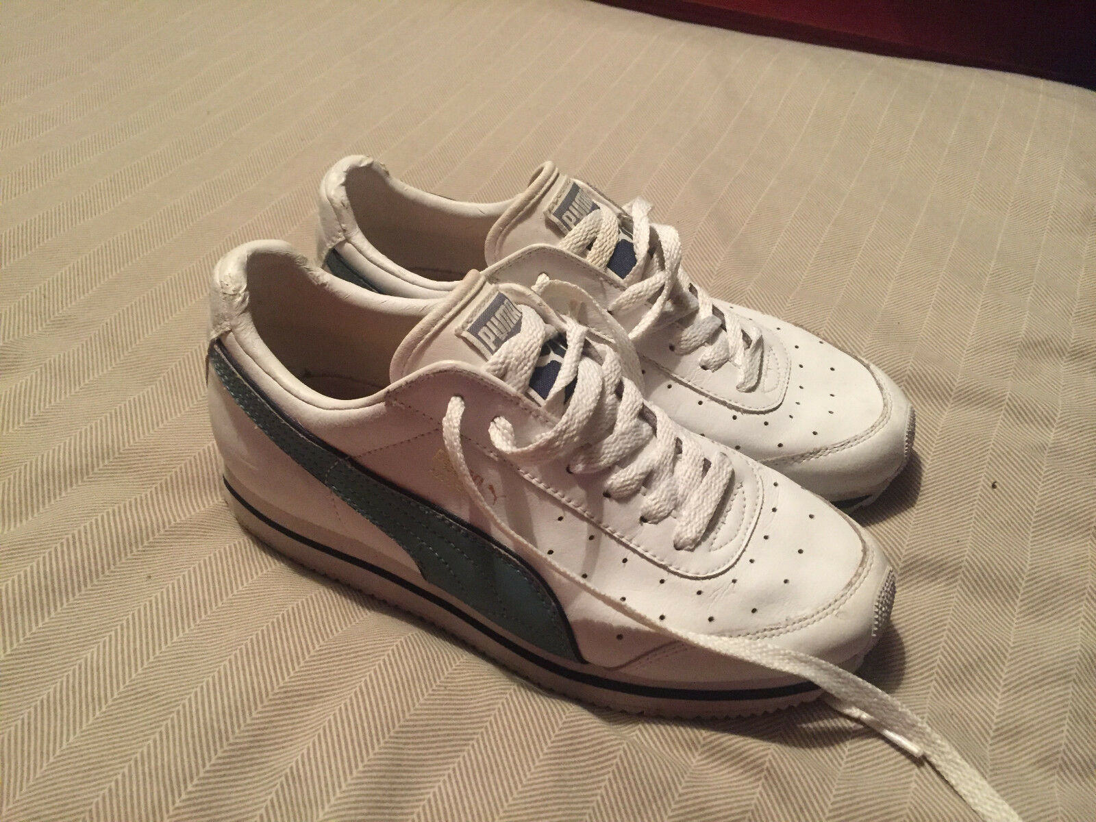 Puma Azzuro White/Blue Leather Trainers Comfortable Comfortable and good-looking