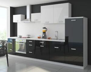k che color 340cm k chenzeile k chenblock einbauk che in hochglanz schwarz weiss ebay. Black Bedroom Furniture Sets. Home Design Ideas