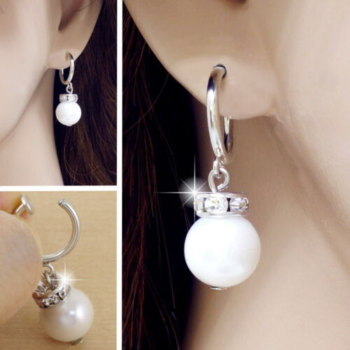 #E118C Pair non-piercing CLIP ON EARRINGS Crystal 8mm Faux Pearl Spring Closure