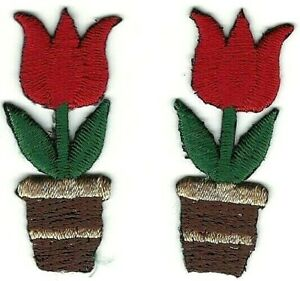 "1.5 "" Rouge Tulipe Pot De Fleur Broderie Patch Lot Of 2"