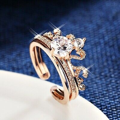 18K White /& Rose Gold Plated Simulated Diamond Double Adjustable Jointed Rings