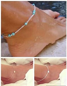 Anklets Impartial Women's Fashion Jewelry Set Of 3 Gold Silver Turquoise Anklets Ankle Bracelet