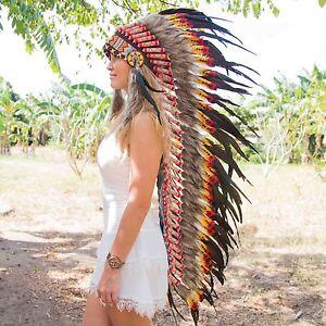 Indian headdress stunning feathers chief war bonnet costume native