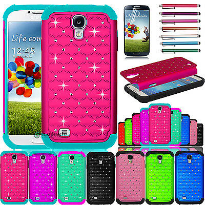 Hybrid Shockproof Rubber Bling Crystal Case Cover for Samsung Galaxy S4 i9500