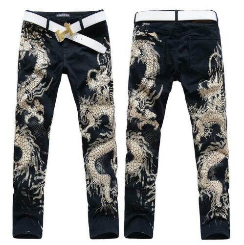Mens Pants Painting Dragon Youth Cotton Straight Dance Club Casual Punk Trousers