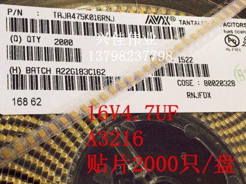 100pcs SMT Tantale Condensateur 16V4.7UF 475 C A3216 Type 1206 Jaune