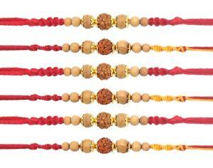 Details about 6 x Rakhi Thread Bracelet Rudraksha Sandalwood Raksha Bandhan  Rakhi Wrist Band