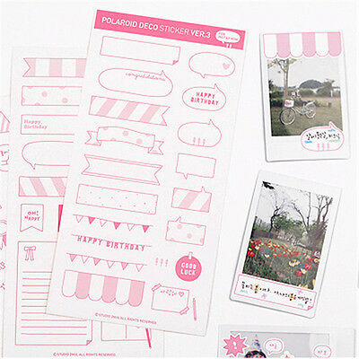 6 Sheets Adhesive Photo Albums Diary Stickers Craft Scrapbooking For Polaroid