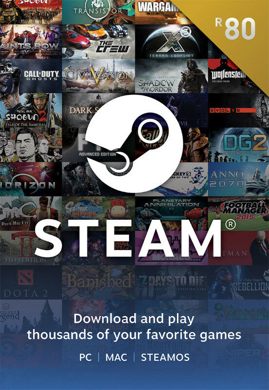 Steam Wallet: Top Up Vouchers [Digital Codes] - R80 to R800 Available