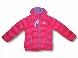 Details zu Adidas Kinder Mädchen Winter Jacke mit Kapuze Steppjacke rosagrau Gr.116 164