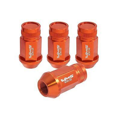 VMS 20 ORANGE 44MM ALUMINUM CLOSED END TUNER LUG NUTS LUGS WHEEL RIMS 12X1.5 SET
