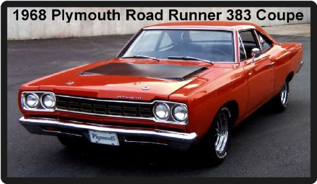 1968 Plymouth Road Runner 383 Coupe Refrigerator Magnet