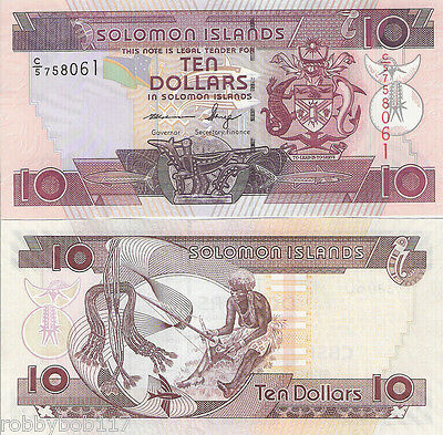 SOLOMON ISLANDS $10 Banknote World Money Currency BILL South Pacific 2009 Bill