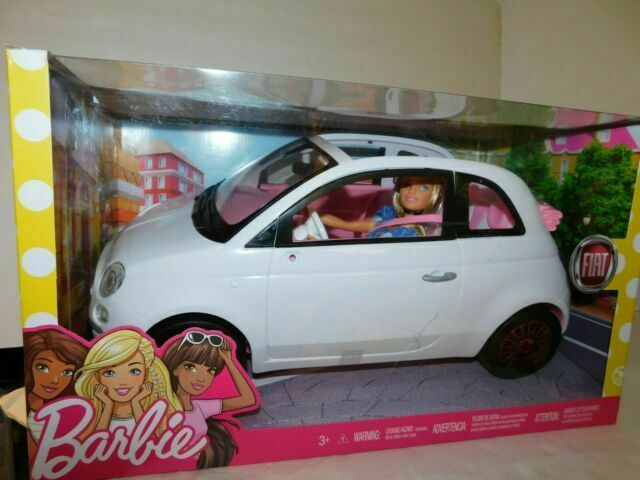 Brand New Mattel Barbie Fiat 500 with Barbie Doll in Blue Outfit