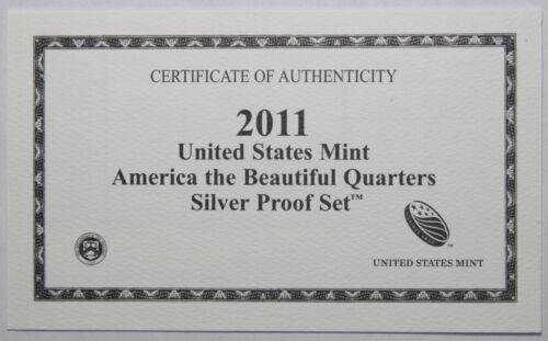 Supplies 2011-S ATB Quarter Silver Proof Set COA ONLY NO COINS