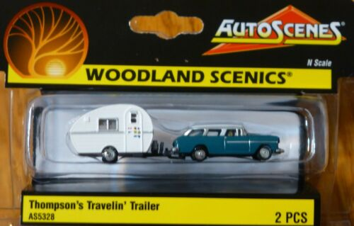 "Woodland Scenics N #5328 Thompson/'s Travelin/' Trailer /""AutoScenes/"" 50/'s era"
