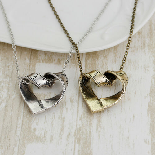 Measure Necklace Twisted Heart shaped ruler Pendant Measuring Tape Chain G