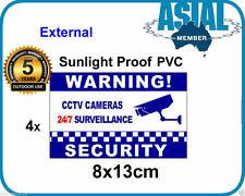 4 Warning Sticker CCTV Camera Surveillance Warning PVC Sign Window External