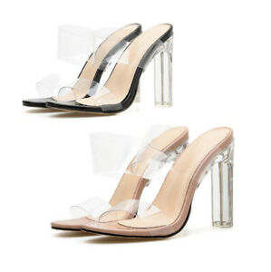 Womens Slip on Clear Perspex Slides
