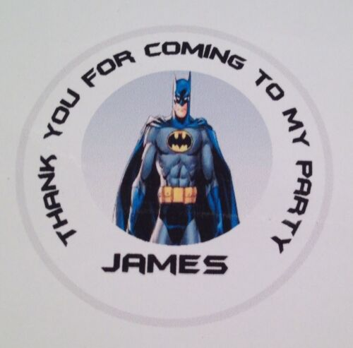 boxes Batman 24 personalised 40mm round stickers sweet cones bags