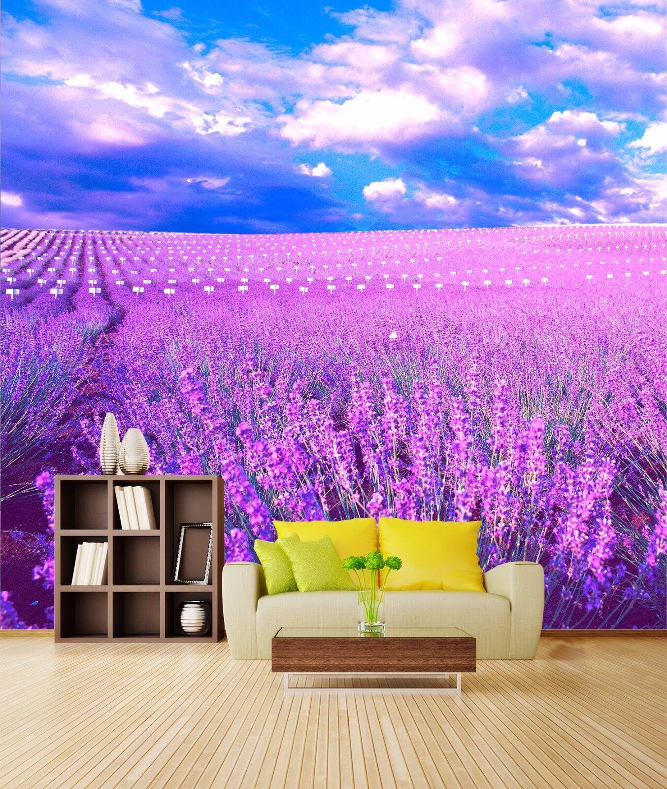 3D purple Lavendel Feld 9 Tapete Wandgemälde Tapete Tapeten Bild Familie DE Summer