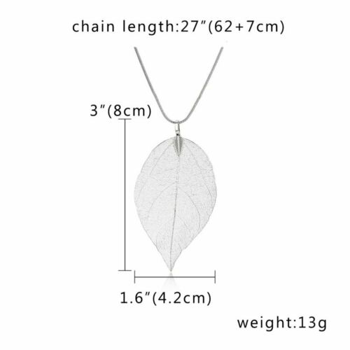 Natural Real Dipped Maple Leaves Leather Rope Pendant Necklace Jewelry Gifts