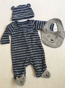 Carters Baby Boy Bear Terry Coverall Hat Bib Set Size Newborn 9 ... c08c85ff89e9