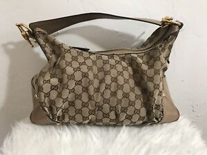 Authentic-Gucci-GG-Monogram-Canvas-Leather-Hobo-Beige-Brown-Handbag