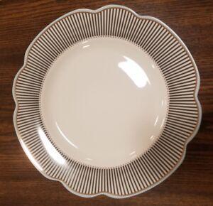 NEW-4-Grace-039-s-Teaware-SCALLOP-BLACK-STRIPE-BLUE-TRIM-Dinner-Plates-Home-Decor