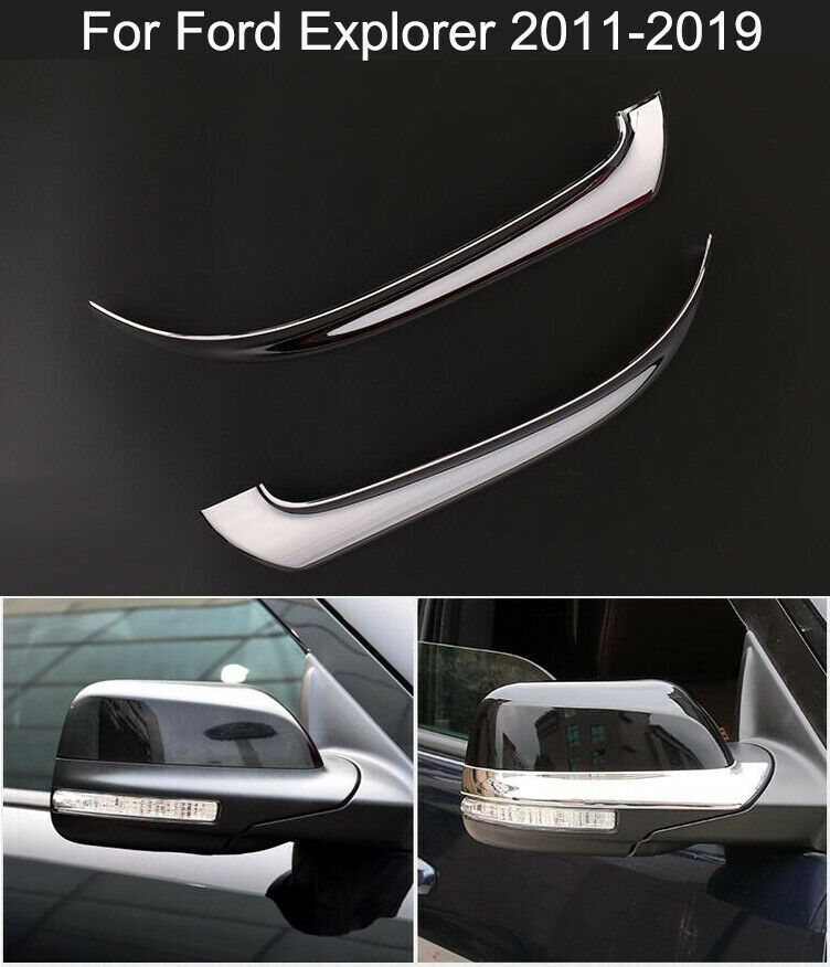 2PCS Car Rear View Mirror Trim Cover ABS Chromed For Ford Explorer 2013-2017