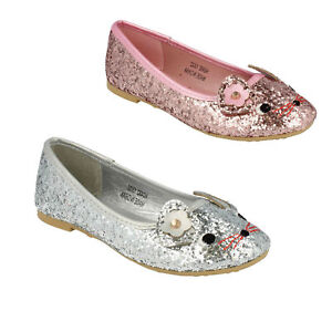 Filles Spot on Fleurs ajourées roses Everyday Noir École Dolly Chaussures H2R300