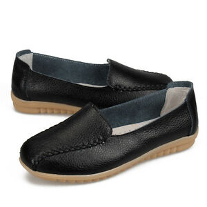 Womens-Casual-Flat-Nursing-Leather-Shoes-Lazy-Peas-Driving-Loafers-Lady-Moccasin