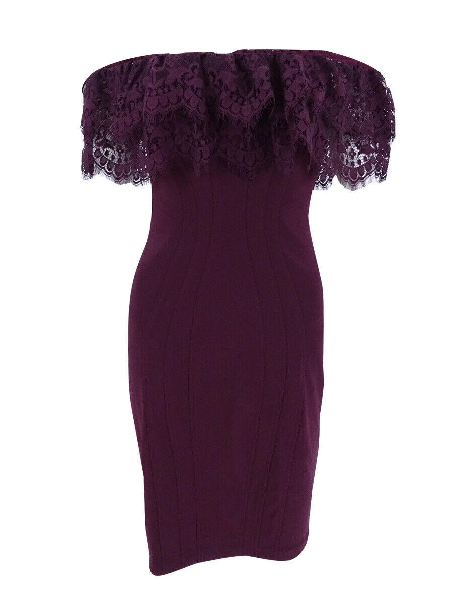 Betsy & Adam Women's Petite Lace Seamed Sheath Dress (6P Wine)