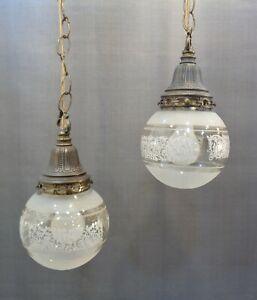 Details About Vintage Mid Century Modern 2 Light Hanging Swag Lamp Hollywood Regency